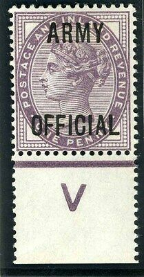 Sg O43 1d Lilac OVPt ARMY OFFICIAL. A superb lightly mounted mint control single