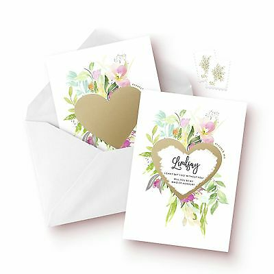 Personalised Will You Be My Bridesmaid Scratch Off Gold Heart Pretty Flower Card