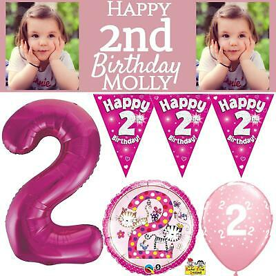 Pink Age 2 Happy 2nd Birthday Party Decorations Banner Bunting Girls Celebration