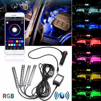 4 x 9 LED RGB Interior Car Auto Under Dash Foot Seat Inside Light Bluetooth