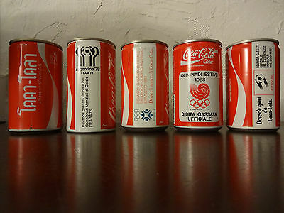 Coca Cola Lot of 5 Can FIFA Olypmics Winter Olympic Games Italy Thai 80s Rare