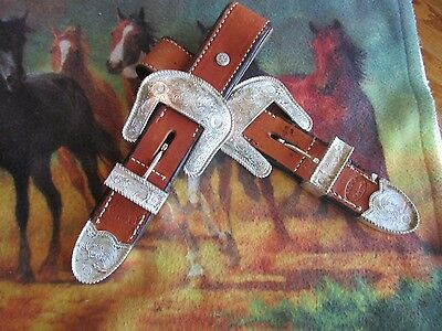 ACKERS RANCH SHOW SADDLE BILLET STRAPS MED OIL Silver Buckle, KEEPER *EUC*