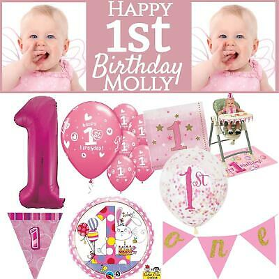 Pink Age 1 Girls Happy 1st Birthday Banner Balloons Confetti Decorations