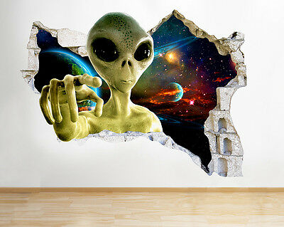 R127 Alien Space Cool Kids Bedroom Smashed Wall Decal 3D Art Stickers Vinyl Room