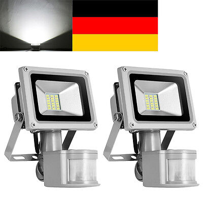 2x 20w kaltwei smd led fluter flutlicht strahler mit pir bewegungsmelder ip65 eur 20 99. Black Bedroom Furniture Sets. Home Design Ideas