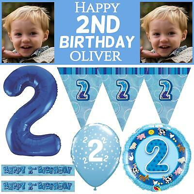 Blue Age 2 Happy 2nd Birthday Party Decorations Banners Bunting Boys Celebration