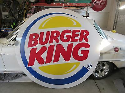 RARE Large Round Burger King Restaurant Sign ~ Bakersfield CA Pick Up Only