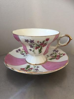 Tea Cup Saucer Footed Floral with Gold Trim Vintage