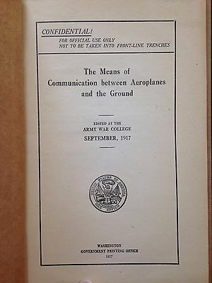 The Means of Communication Between Aeroplanes and the Ground, WW I, 1917, Orig.