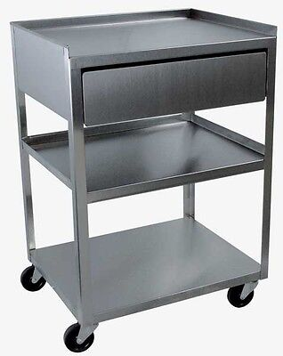 CART, Stainless 3-shelf with Drawer