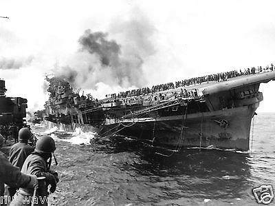1945-Aircraft carrier USS Franklin Afire  Hit by Japanese Air Attack-724 Killed