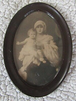 Vintage Picture Mother & Child Small Oval Meta lFrame Madonna Mary, 7 x 5 Inches