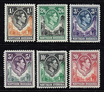 Northern Rhodesia 1938-52 King George VI part set 1s. / 20s., MNH (SG#40/45)