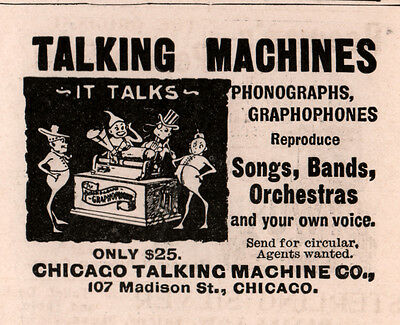 1896 B Ad Chicago Talking Machine  Brownies Phonograph Graphophone