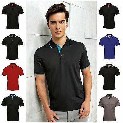 Mens Polo Shirt Golf Sports Breathable Wickable Running Training Polyester S-3XL