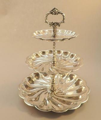 Ornate Scalloped 3 Tiered Pastry Stand Silver Plated