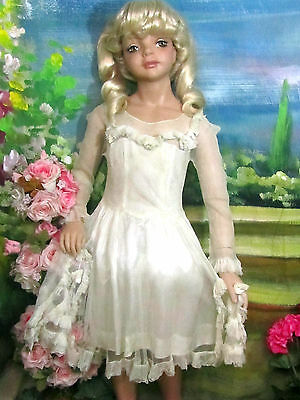 ANTIQUE child DRESS large DOLL CLOTHES French TULLE over RAYON SATIN ruffles