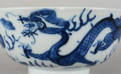 Antique Chinese Qing Porcelain Blue & White Dragon Bowl