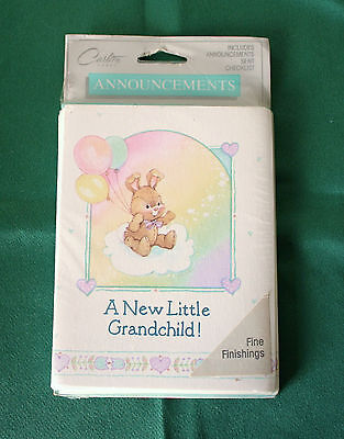 Carlton Cards~A NEW LITTLE GRANDCHILD~Announcements~Stationary~8 PACK~USA