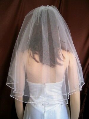 Bridal Wedding Veil Ivory 2 Tiers Elbow Length  With 4mm Pearl Trim Edge