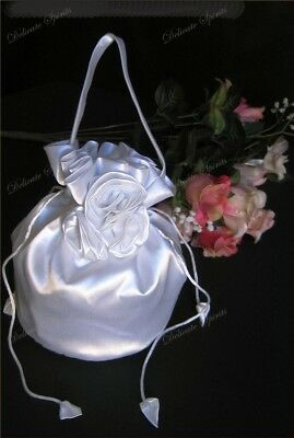 Bridal Purse Money Bag White Satin Rosebud