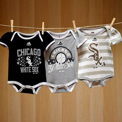 Chicago White Sox Baby Infant Girl 3 Pack Onesie Creepers (FREE SHIPPING) 6-9 mo