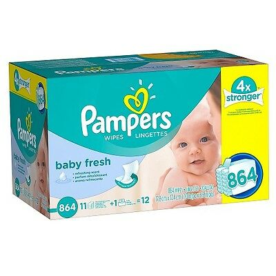 Pampers Baby Fresh Baby Wipes 864 Count Hypoallergenic Light Scent Diaper Clean