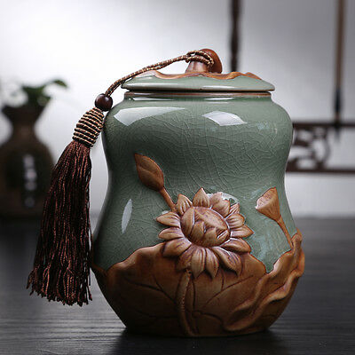 China ceramic jar gourd lotus tea caddy Tea Storage Canister Jar Container
