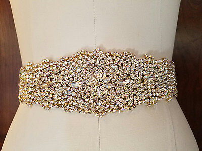 "Wedding Dress Sash Belt - LIGHT GOLD Crystal Sash Belt = 12 1/2"" long"