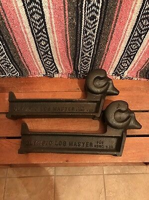 Vintage Olympic Log Master Fire Place Andirons