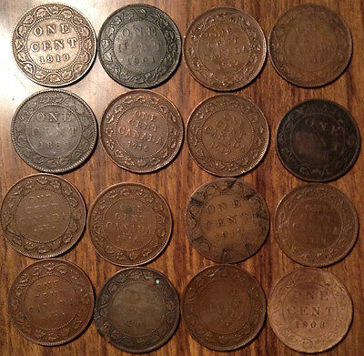 Lot Of 16 Canada Large Cents Vickies/edward/george Lot Of 16 Coins !!