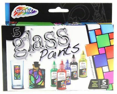 New 4 Bottles Glass Decorating Art Paints Red Black Blue Yellow Grafix