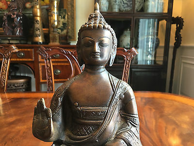 A Large Antique Chinese-Tibetan Gilt Bronze Buddha Statue.