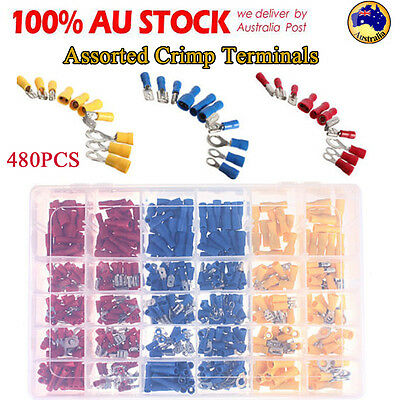480Pcs Assorted Crimp Terminals Set Insulated Electrical Wiring Connector Kit AH