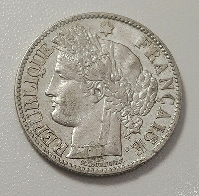 France 1871 A Silver 2 Francs KM# 816.1 High Grade