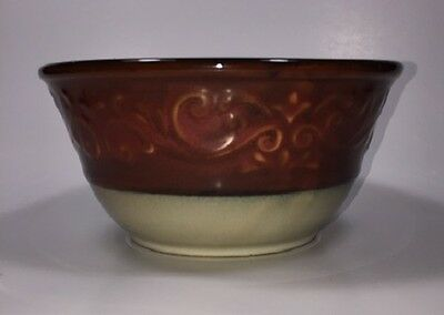 Pier 1 Imports Red Scroll Soup Cereal Bowl Red Rim Embossed Scrolls Black Trim