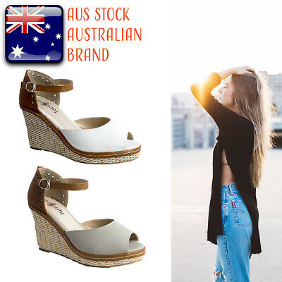 NEW Women Fashion Summer Sandals Wedges White Grey Espadrilles Shoes Size