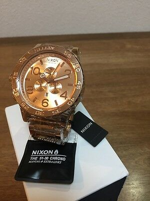 NIXON Watch 51-30 CHRONO ROSE GOLD  A083-897 A083897  NEW  sale