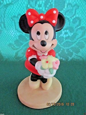 """Disney**rare Minnie Mouse With Bouquet Of Flowers Figurine**3 3/4""""tall*new**"""