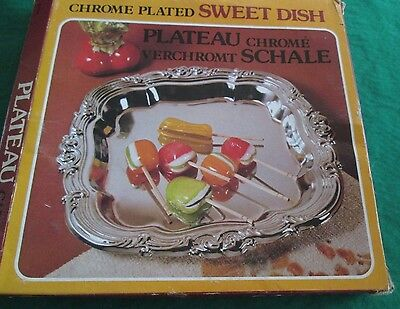 Vintage **chrome Plated Sweet Dish** **new In Box**old Stock**