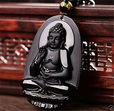 Unisex Black Natural Obsidian Carved GuanYin Buddha Lucky Pendants FOR necklace