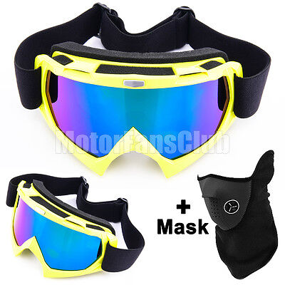 Gelb Motorcycle Bike Skate Ski Cycling Goggles Glasses Glotzen Brille With Mask