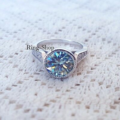 2 Carat Brilliant Cut Blue Moissanite Engagement Ring Set 925 Sterling Silver