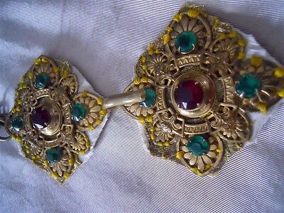 Antique French   Buckle  Metal And Red Green  Rhinestones For Religious Vestment