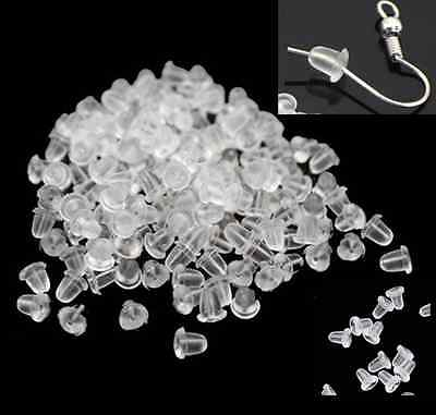 500pcs clear Rubber Earring Back Stoppers Ear Post Nuts Jewelry Making 4mm hs