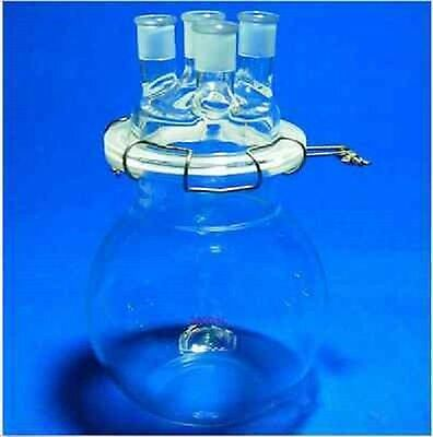 1000 ml 24/40 Glass Reaction Reactor 1L 4-Necks Reaction Vessel W/Lid and Clamp