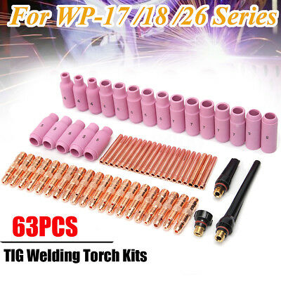 63x TIG Welding Torch Gas Lens Parts Replacement Kit For WP-17/18/26 WP Tungsten