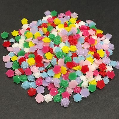 200x 5mm Rose Flower Resin Cabochon Embellishments Flatback With Glitter Coating