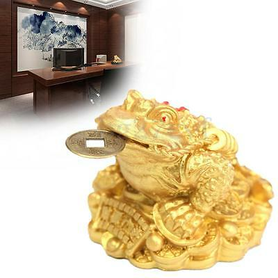 Feng Shui Frog Toad Lucky Money Three Legs Gilded Ingot Coin For Enhance Fortune
