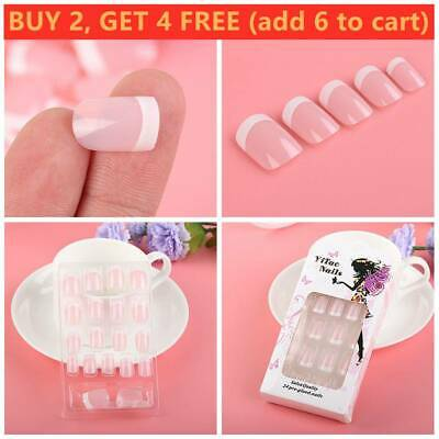 24Pcs Women Beauty French Style DIY Manicure False Nails With Glue Art Tips